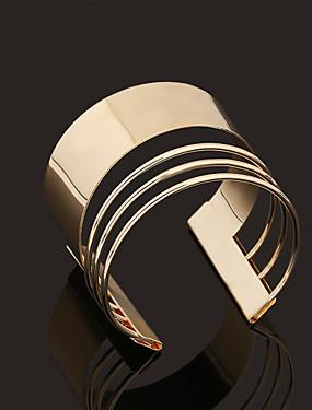 billige Mansjett-armbånd-Dame Mansjettarmbånd damer Personalisert Vintage Enkel Stil Åpne Gullbelagt Armbånd Smykker Gylden Til Julegaver Bryllup Fest Daglig Avslappet
