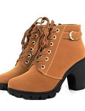ieftine More-Pentru femei Blocați Heel Imitație de Piele Toamnă / Iarnă Cizme de Combat Toc Îndesat 20.32-25.4 cm / Cizme Medii Dantelă Negru / Galben / Verde / EU39