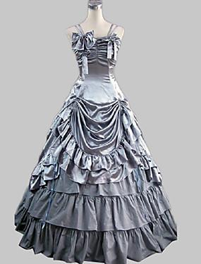billige Leker og hobbyer-Rokoko Victoriansk 18. århundre Ruffle Dress Kjoler Party-kostyme Dame Kostume Grå Vintage Cosplay Satin Fest Skoleball Ermeløs Gulvlang Lang Lengde Ballkjole