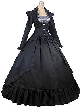 cheap Toys & Hobbies-Victorian Medieval Square Neck Costume Women's Dress Party Costume Masquerade Black Vintage Cosplay Cotton Party Prom Long Sleeve Ankle Length Long Length Ball Gown Plus Size Customized