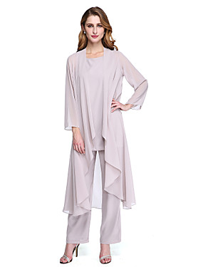 cheap The Wedding Store-Pantsuit / Jumpsuit Scoop Neck Ankle Length Chiffon Mother of the Bride Dress with Pleats by LAN TING BRIDE® / Wrap Included