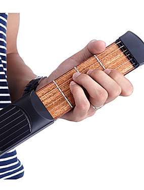 billige Guitarer-Profesjonell Pocket Guitar Trener Ammoon Gitar Akustisk Gitar Materiale ABS Bærbar Øvelsesverktøy 6 String 4 Fret for nybegynner Moro