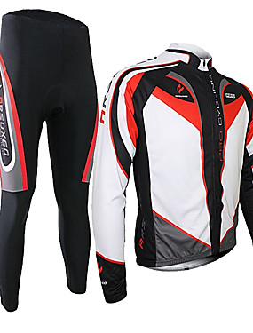 cheap Sports & Outdoors-Arsuxeo Men's Long Sleeve Cycling Jersey with Tights - Black / Red Bike Clothing Suit Thermal / Warm Breathable 3D Pad Quick Dry Sports Polyester Spandex Silicon Patchwork Mountain Bike MTB Road Bike