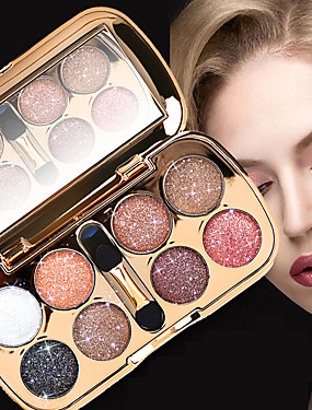 Active Cheap Makeup Party Shimmer Eyeshadow Kits With Brush Diamond Shiny Shadows Eyes Glitter Powder Blue Silver Gold 2019 Comfortable And Easy To Wear Beauty Essentials