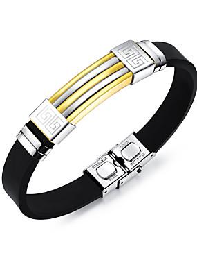 voordelige ID Armband-Heren Bangles ID-armband Modieus Roestvast staal Armband sieraden Goud / Zwart / Zilver Voor Dagelijks Uitgaan