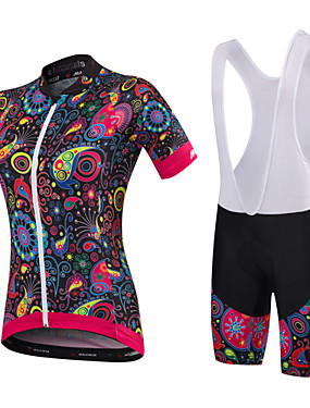 cheap Sports & Outdoors-Malciklo Women's Short Sleeve Cycling Jersey with Bib Shorts - White Black Floral / Botanical Plus Size Bike Clothing Suit Breathable 3D Pad Quick Dry Anatomic Design Sports Bamboo-carbon Fiber Lycra