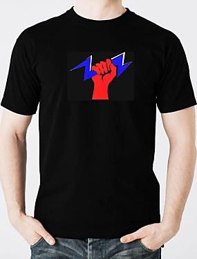 tanie Kostiumy karnawałowe-T-shirty LED Oświetlenie / Modny design / Electro luminescentowe Czysta bawełna Imprezowa / Na co dzień 2 baterie AAA