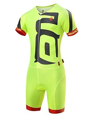 cheap Sports & Outdoors-Malciklo Men's Triathlon Tri Suit - White / Black / Green / Yellow Bike Clothing Suit Quick Dry Anatomic Design Ultraviolet Resistant Reflective Strips Sports Spandex Solid Color Triathlon Clothing