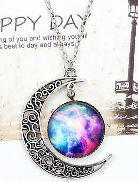 8988ae392 Dámské Opál Ryté Náhrdelníky s přívěšky dlouhý náhrdelník MOON Galaxie  Crescent Moon Levný dámy Evropský Módní Barva Modrá Červenobílá Duhová  Náhrdelníky ...
