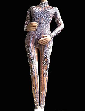 5342fd88c6c2 Taneční kostýmy Oblečení na exotické tance   Diamantové body Dámské Výkon  Spandex Křišťály   Bižuterie Dlouhý rukáv Leotard   Kostýmový overal