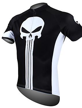 저렴한 스포츠 & 아웃도어-ILPALADINO 남성용 짧은 소매 싸이클 져지 그린 블루 블랙 / 화이트 해골 자전거 져지 탑스 통기성 빠른 드라이 자외선 방지 스포츠 100% 폴리에스터 산악 자전거 로드 사이클링 의류