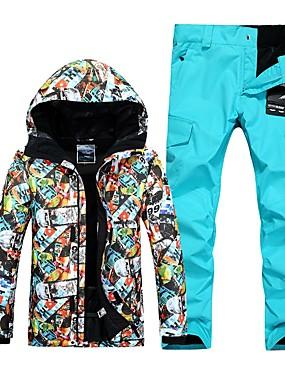 abordables Sports & Loisirs-GSOU SNOW Homme Veste et Pantalons de Ski Etanche Coupe Vent Chaud Ski Sports d'hiver Polyester Ensemble de Vêtements Tenue de Ski / Hiver