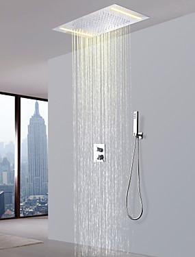 Χαμηλού Κόστους Σπίτι & Κήπος-Βρύση Ντουζιέρας - Σύγχρονο Χρώμιο Σύστημα Ντουζ Κεραμική Βαλβίδα Bath Shower Mixer Taps / Ορείχαλκος / Δύο λαβές τρεις οπές