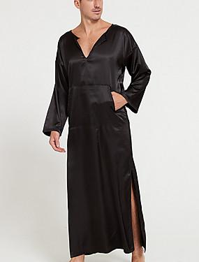 Недорогие Мужские пижамы и халаты-Муж. Глубокий V-образный вырез Халат Пижамы Однотонный