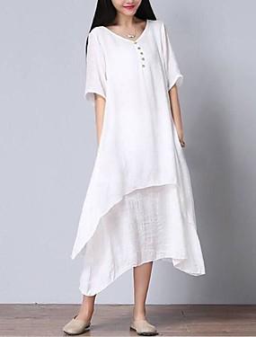 02fcfa60e7072 Kadın's Büyük Bedenler Pamuklu Salaş Elbise - Solid, Çoklu Katman V Yaka  Midi Beyaz