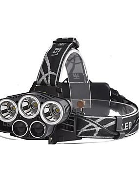 billige Sport og friluftsliv-U'King Hodelykter Frontlys til sykkel 3200 lm LED LED 5 emittere 5 lys tilstand Bærbar Holdbar Camping / Vandring / Grotte Udforskning Dagligdags Brug Sykling Svart / Aluminiumslegering