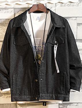 baratos Jaquetas Jeans-Homens Diário Básico Outono Padrão Jaqueta jeans, Sólido / Geométrica Colarinho de Camisa Manga Longa Poliéster Preto / Azul Claro L / XL / XXL