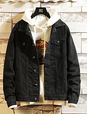 baratos Jaquetas Jeans-Homens Diário Básico Outono Padrão Jaqueta jeans, Sólido / Geométrica Colarinho de Camisa Manga Longa Poliéster Azul / Preto / Cinzento XXXL / XXXXL / XXXXXL