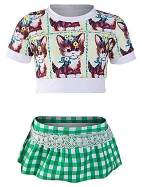 cheap Sports & Outdoors-JIAAO Girls' Swim Dress Ultra Light (UL) Wearable Comfortable Chinlon Short Sleeve Swimwear Beach Wear Swimwear Patchwork 2-Piece Swimming / Stretchy