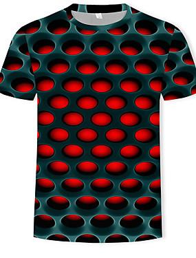 povoljno Happy Mothers' Day-Majica s rukavima Muškarci - Ulični šik / pretjeran Ležerno / za svaki dan / Plus veličine Color block / 3D Okrugli izrez Print Crvena XXXXL / Kratkih rukava