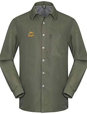 저렴한 스포츠 & 아웃도어-Esdy 남성용 한 색상 하이킹 셔츠 긴 소매 집 밖의 통기성 빠른 드라이 땀 흡수 기능성 소재 짧은 슬리브로 변환 셔츠 가을 봄 테릴린 아미 그린 그레이 카키