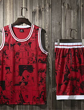 535be5dad865 Men s Basketball Uniform Jersey and Shorts Sports Polyester Clothing Suit  Basketball Team Sports Active Training Sleeveless Activewear Quick Dry ...
