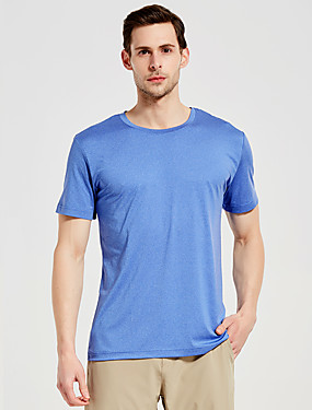 cheap Sports & Outdoors-SUMMITGLORY® Men's Solid Color Hiking Tee shirt Short Sleeve Outdoor Breathable Quick Dry Tee / T-shirt Top Summer POLY Elastane Crew Neck Sky Blue Camping / Hiking Fitness Jogging
