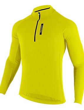 abordables Sports & Loisirs-Mysenlan Homme Manches Longues Maillot Velo Cyclisme - Bleu de minuit Jaune Cyclisme Maillot Respirable Des sports Térylène Vêtement Tenue