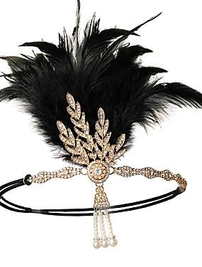 povoljno Igračke i hobiji-Čarlston Vintage 1920s Gatsby Traka za kosu u stilu 20-ih Žene Kostim Crn / Srebrna / Zlatan Vintage Cosplay Festival