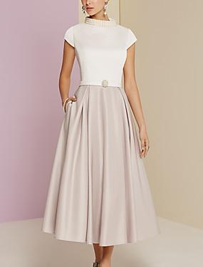 baratos Loja de Casamentos-Linha A Gola Alta Longuette Cetim Vestido Para Mãe dos Noivos com Detalhes em Pérolas de LAN TING Express