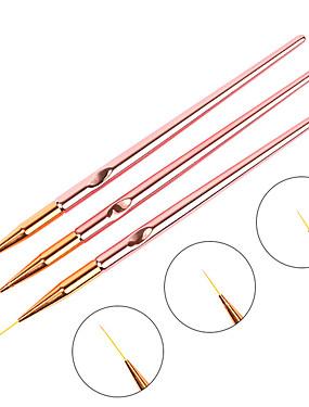 voordelige Nagelborstels-3 stks / set rose goud nail art lijn schilderen borstels metalen handvat dunne voering tekening pen diy uv gel tips ontwerp manicure tool kits