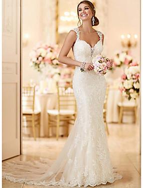 billige Bryllupsbutikken-Havfrue V-hals Svøpeslep Blonder Made-To-Measure Brudekjoler med av LAN TING Express