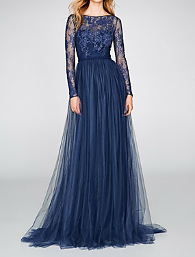 cheap New Arrivals-A-Line Boat Neck Sweep / Brush Train Chiffon / Lace Dress with Pleats / Lace Insert by LAN TING Express