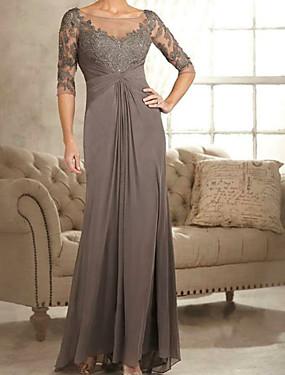 baratos Loja de Casamentos-Linha A Bateau Neck Cauda Escova Chiffon / Renda Vestido Para Mãe dos Noivos com Franzido de LAN TING Express