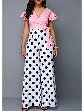 povoljno Ženski kombinezoni-Žene Blushing Pink Jumpsuits, Na točkice S M L