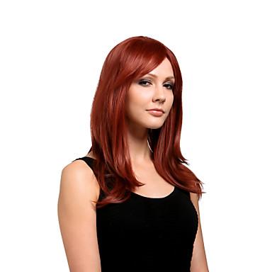 Synteettiset peruukit Suora Otsatukalla Synteettiset hiukset 17 inch Sivuosa Punainen Peruukki Naisten Keskikokoinen Suojuksettomat tumma viini