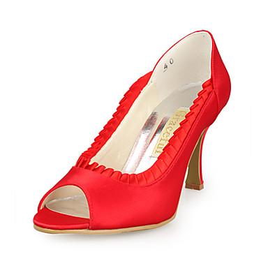 FemininoPeep Toe-Salto Agulha-Preto / Rosa / Vermelho / Marfim / Branco / Prateado / Dourado-Cetim / Cetim com Stretch-Casamento