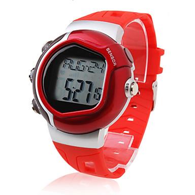 Bărbați Ceas Sport Piloane de Menținut Carnea LCD Pulsometru Calendar Cronograf alarmă Bandă Roșu Rosu