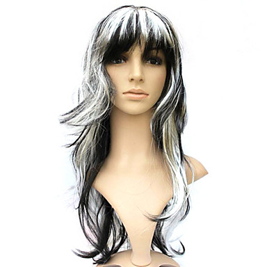 Capless Synthetic Black Mixed White Curly Costume Party Wig