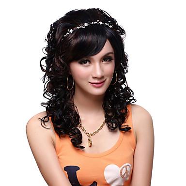 preto peruca Perucas para mulheres Ondulado Perucas para Fantasia Perucas de Cosplay