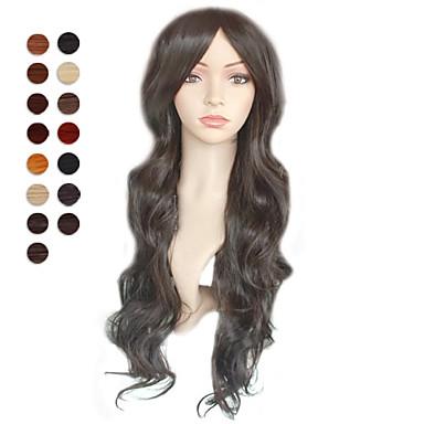 Sentetik Peruklar Kadın's Sentetik Saç Peruk Koyu Kahverengi #27 Orta Auburn