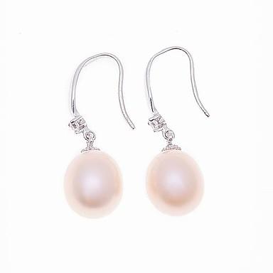 1set Kadın's Pembe Beyaz İnci Damla Küpeler - Som Gümüş Şık Mücevher Beyaz / İnci Pembesi Uyumluluk Özel Anlar Parti / Gece