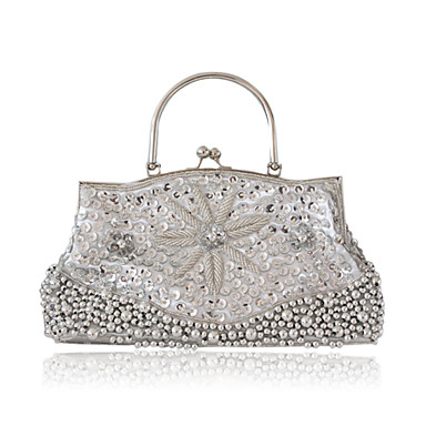 Silk With Sequin/ Imitation Pearl Evening Handbags/ Clutches/ Top Handle Bags More Colors Available