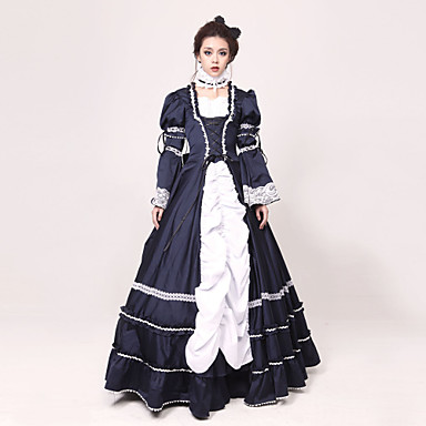 Rococo / Victorian Costume Women's Dress / Party Costume / Masquerade Ink Blue Vintage Cosplay Jazz Wool Long Sleeve Long Length