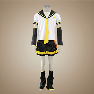 Εμπνευσμένη από Vocaloid Kagamine Len Βίντεο Παιχνίδι Στολές Ηρώων Κοστούμια Cosplay Patchwork Κοντομάνικο Κορυφή Μανίκια Ζώνη Γκέτες