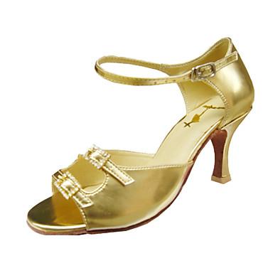 Pentru femei Pantofi Dans Latin / Sală Dans Imitație de Piele Sandale / Călcâi Cataramă Toc Stilat NePersonalizabili Pantofi de dans Auriu
