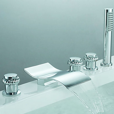 Contemporary Roman Tub Waterfall Handshower Included Widespread Ceramic Valve Five Holes Three Handles Five Holes Chrome , Bathtub Faucet