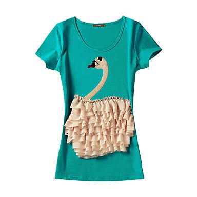 camadas ruffle cisne caber manga curta t-shirt