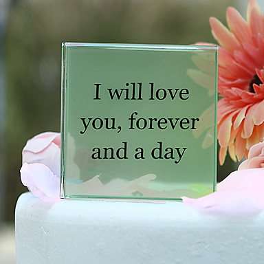 kişisel kare kristal düğün pastası topper