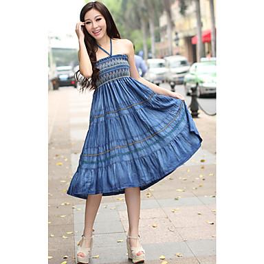coton A-ligne bretelles genou longueur robe bain de soleil